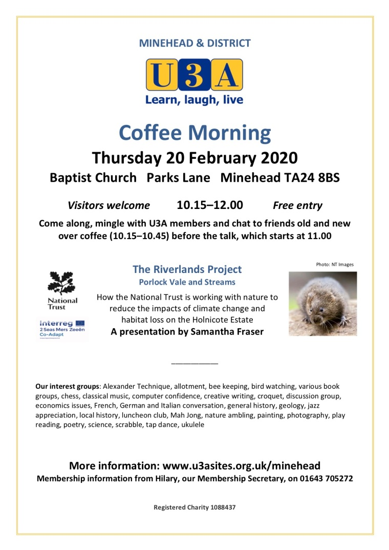 U3A Coffee Morning Poster February 2020