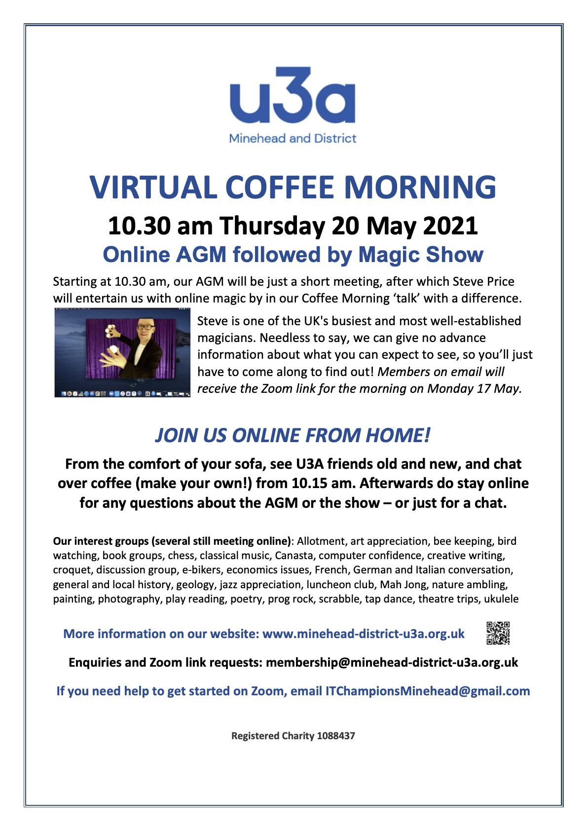 U3A Coffee Morning Poster May 2021