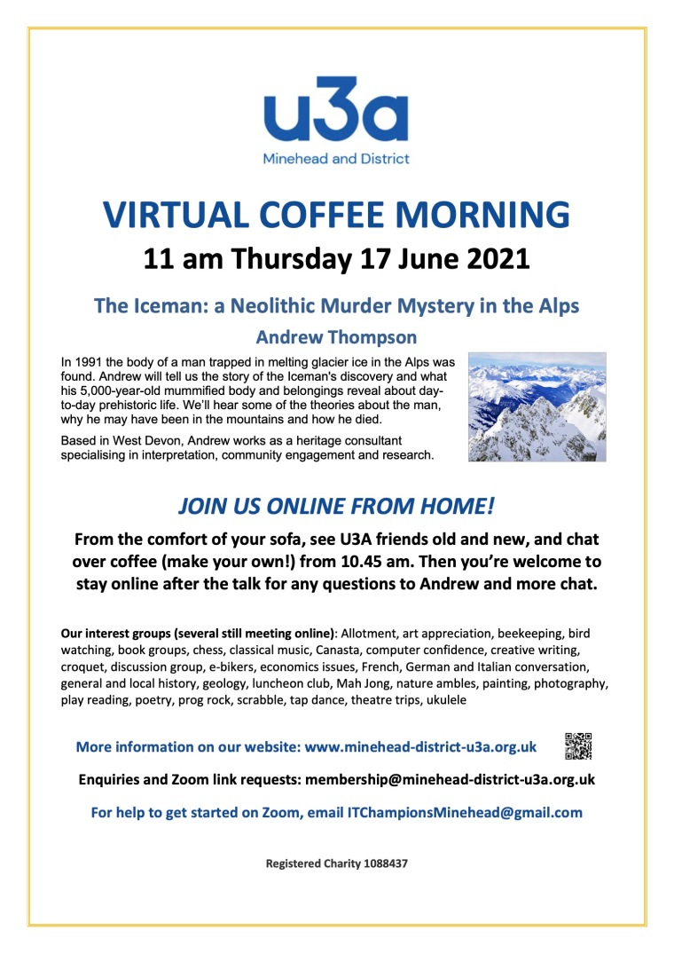 U3A Coffee Morning Poster June 2021
